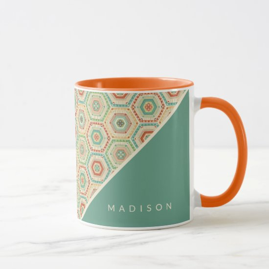 Add Your Name | Southwest Hexagon Pattern Mug