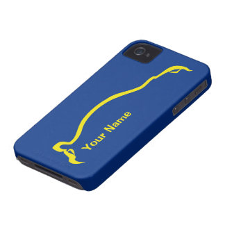 """add your name"" STI  Blue / Yellow Silhouette iPhone 4 Cover"