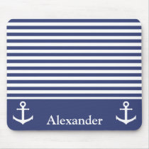 Add your Name to Dark and White Striped Pattern Mouse Pad