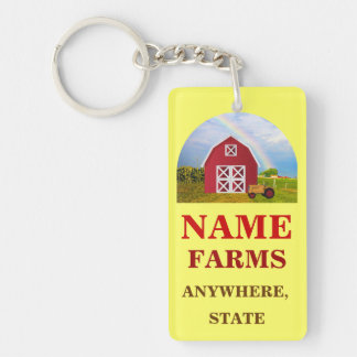 Add Your Name to Red Barn with Blue Sky Keychain
