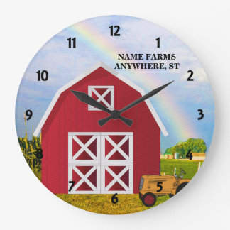 Add Your Name to Red Barn with Blue Sky Large Clock