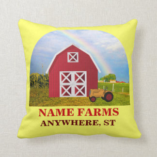 Add Your Name to Red Barn with Blue Sky Throw Pillow
