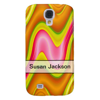 Add Your Name yellow pink bright abstract Samsung S4 Case