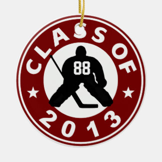Add Your Number Class Of 2013 Hockey Goalie Double-Sided Ceramic Round Christmas Ornament