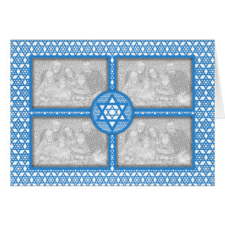 ADD YOUR OWN 4 PHOTOS - Hanukkah - Star of David Greeting Cards