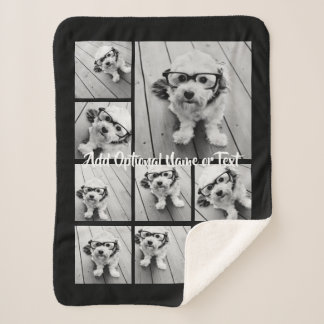 Add Your Own 9 Photos Collage -- CAN edit COLOR Sherpa Blanket