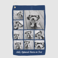 Add Your Own 9 Photos Collage -- Can Edit Navy Golf Towel