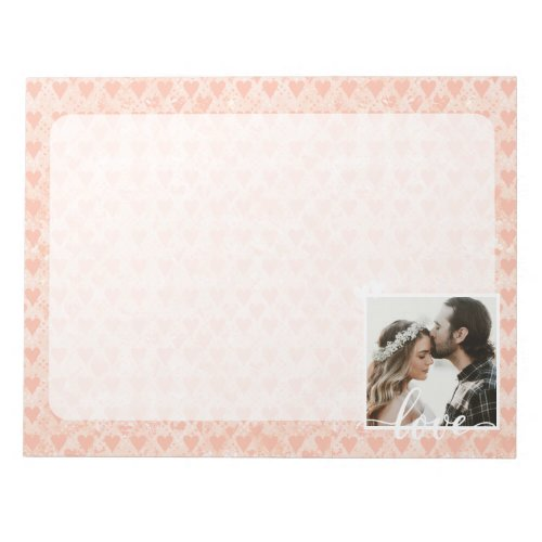 Add Your Own Custom Photo Love Hearts in Rose Gold Notepad