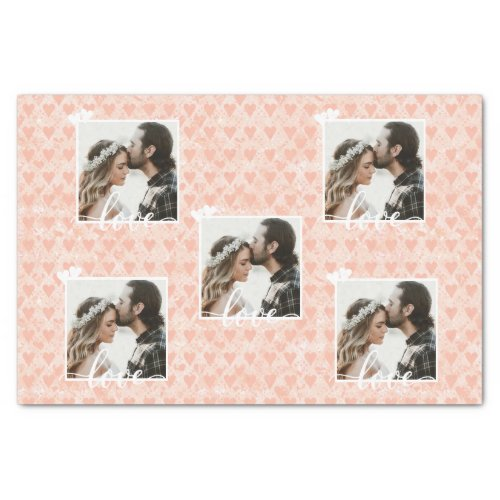 Add Your Own Custom Photo Love Hearts in Rose Gold Tissue Paper