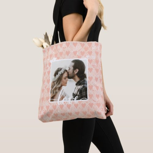 Add Your Own Custom Photo Love Hearts in Rose Gold Tote Bag