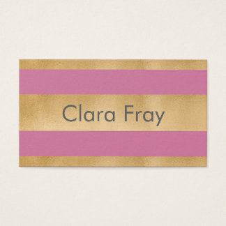 Add your own custom text, faux gold foil stripes business card