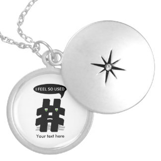 Add Your Own Funny Hashtag Round Locket Necklace