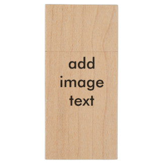 Add your own image, photo, art, and words wood USB 2.0 flash drive