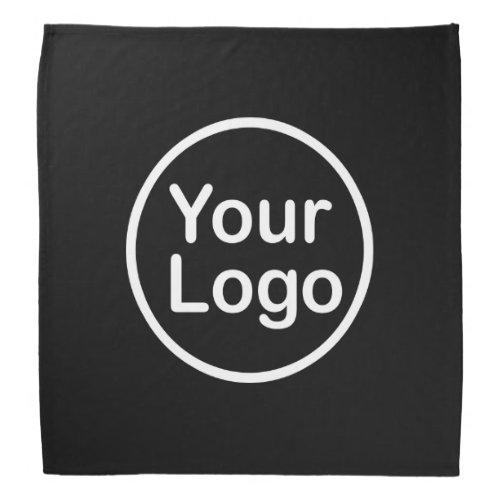 Add Your Own Logo  Black Background Bandana