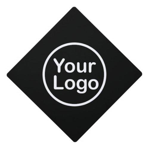Add Your Own Logo  Black Background Graduation Cap Topper
