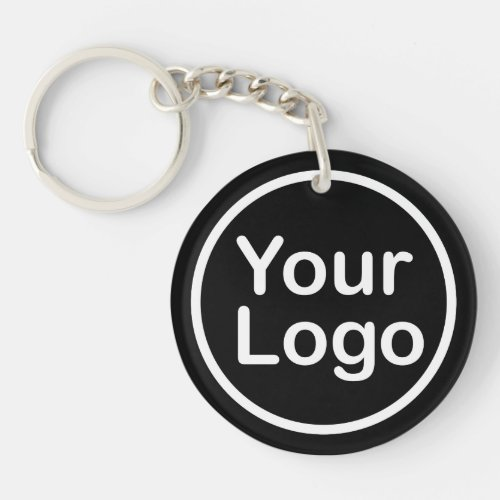 Add Your Own Logo  Black Background Keychain