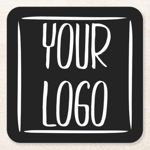 Add Your Own Logo  Black Background or change Square Paper Coaster