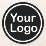 "Add Your Own Logo | Black Background Round Paper Coaster<br><div class=""desc"">Easily replace with your own image or logo.</div>"