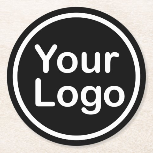 Add Your Own Logo  Black Background Round Paper Coaster