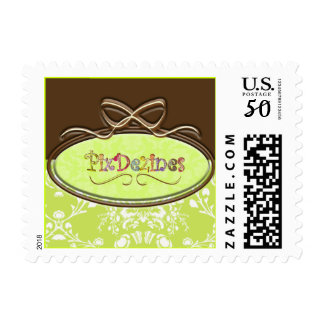Add your own logo to damask postage stamps