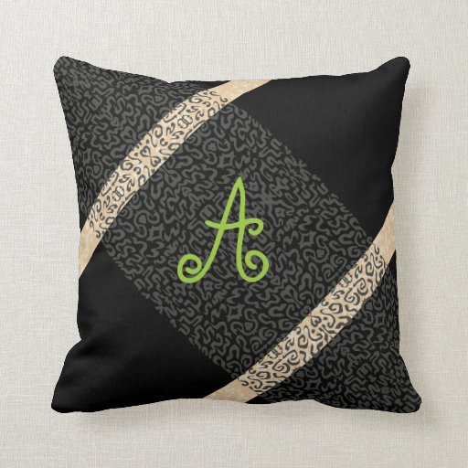 Add Your Own Monogram Classy Black Accent Pillow