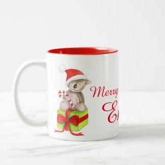Add your own name Christmas koala mug