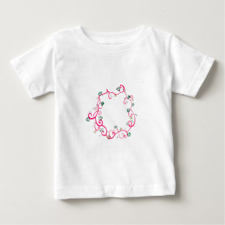 Add Your Own Name or Message Floral Pink Design Baby T-Shirt