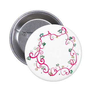 Add Your Own Name or Message Floral Pink Design Button