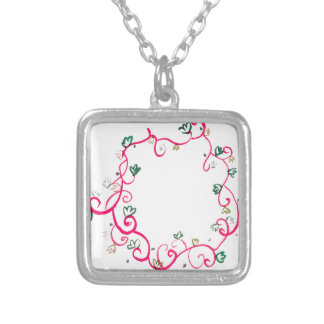 Add Your Own Name or Message Floral Pink Design Square Pendant Necklace