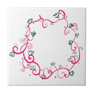 Add Your Own Name or Message Floral Pink Design Tile