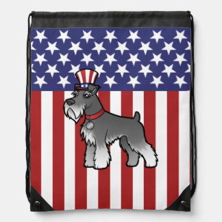 Add Your Own Pet and Flag Drawstring Backpack