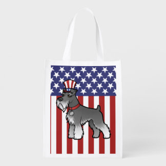Add Your Own Pet and Flag Reusable Grocery Bag