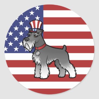 Add Your Own Pet and Flag Round Stickers