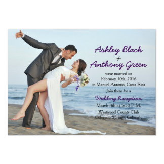 Add Your Own Photo Beach Wedding Reception Only Card
