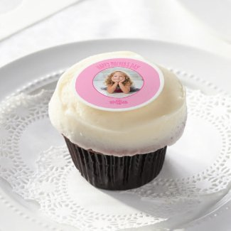 Add Your Own Photo Custom Pink Frame Mother's Day Edible Frosting Rounds