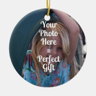 ADD YOUR OWN PHOTO EASY UPLOAD GIFT Mother's Day Ceramic Ornament