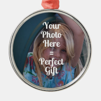 ADD YOUR OWN PHOTO EASY UPLOAD GIFT Mother's Day Metal Ornament