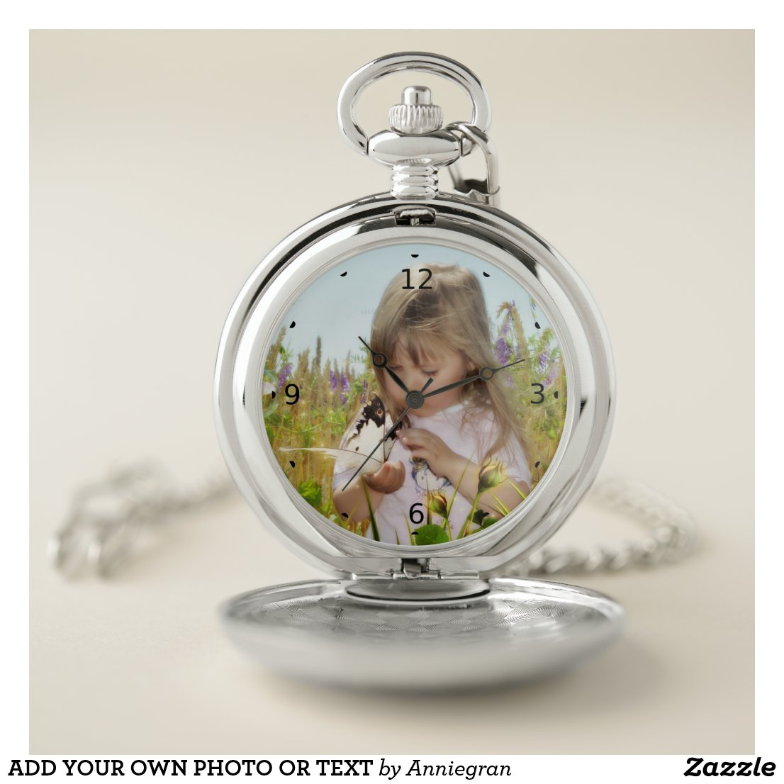 ADD YOUR OWN PHOTO OR TEXT POCKET WATCH Case Diameter: 2 inches Avlbl in Gold or Silver