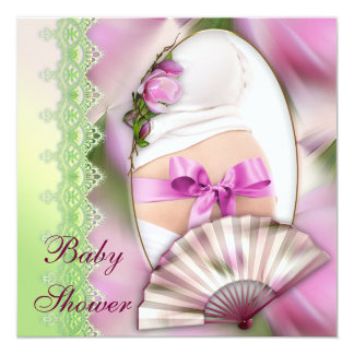 Add Your Own Photo Pink Magnolia Baby Shower Card