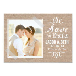 Add Your Own Photo Rustic Burlap Save the Date Card