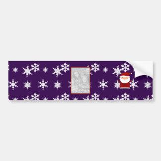 Add your own photo santa purple snowflakes bumper sticker