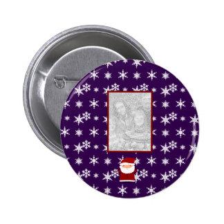 Add your own photo santa purple snowflakes pinback button