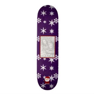 Add your own photo santa purple snowflakes skateboard deck