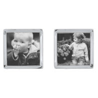 Add Your Own Photo Silver Finish Cuff Links