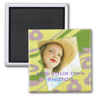 Add your own photo to this retro design 2 inch square magnet