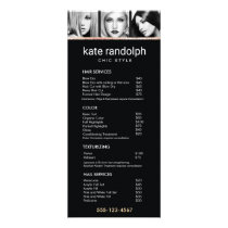 Add Your Own Photos  Black Salon Price List Menu