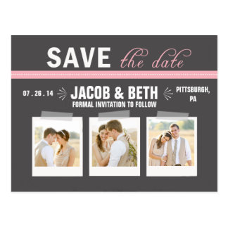 Add Your Own Photos Pink Save the Date Postcard