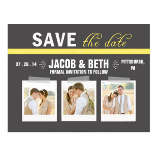 Add Your Own Photos Yellow Save the Date Postcard