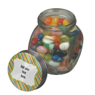 Add Your Own Text, Colorful Stripes Glass Jar