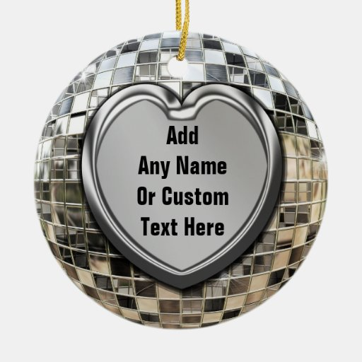 Add Your Own Text Disco Mirrorball Ornament